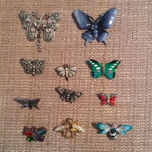 Bundle of 11 Butterfly Brooches